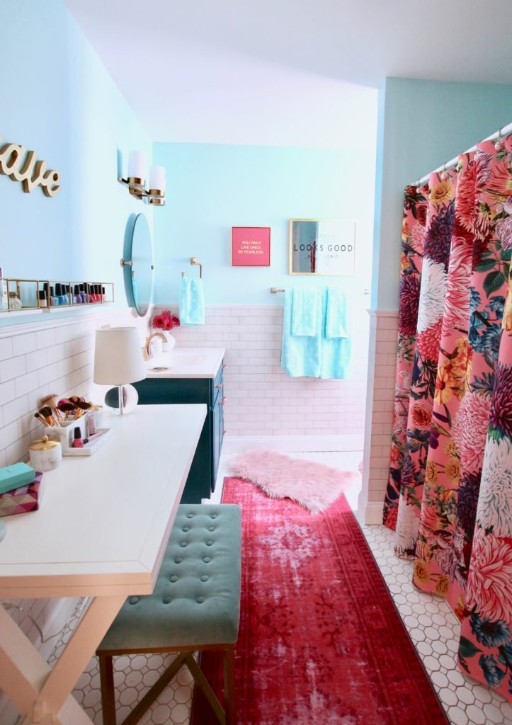 Meme_Hill_bathroom_teen_Makeover_pink_turquoise_subway_tile_glam_chic_gold_delta_faucet_floral_shower_curtain_makeup_table