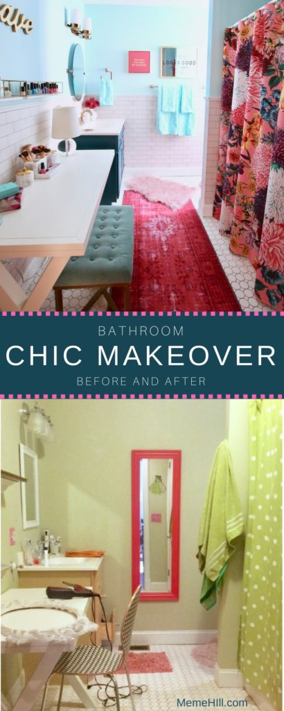 Meme_Hill_bathroom_teen_Makeover_pink_turquoise_subway_tile_glam_chic_gold_delta_faucet_progress_elevate_lighting_chic_before_after
