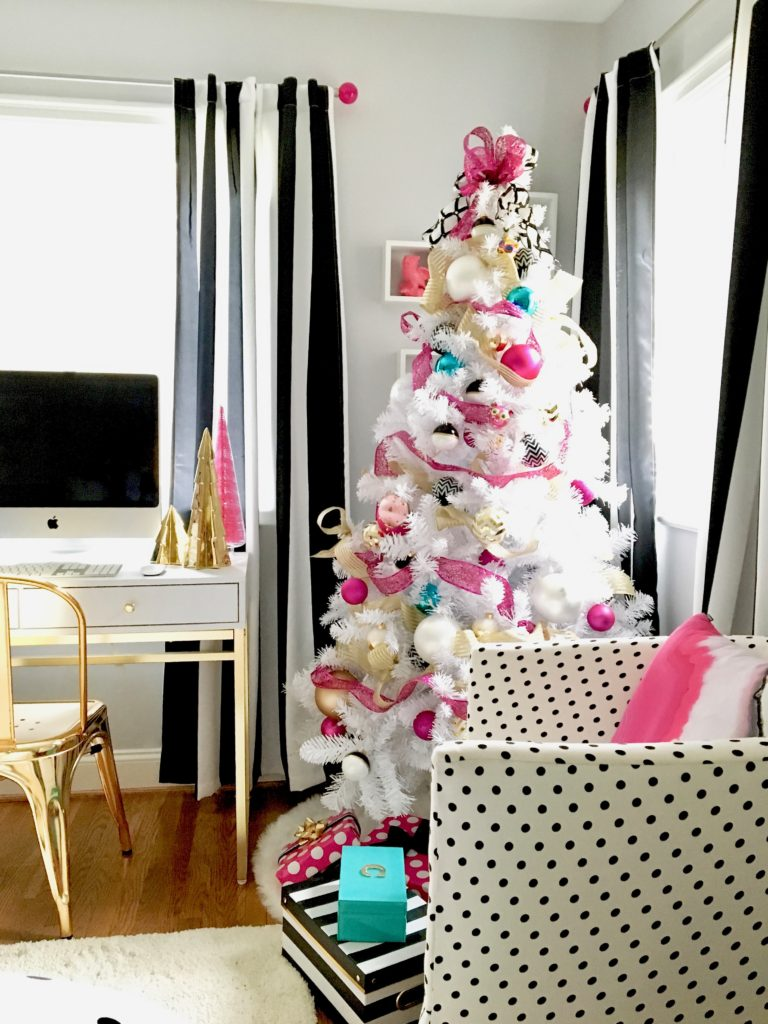 Meme_hill_studio_amie_freling_teen_room_ideas_black_white_chic_desk_Raymour_flanigan_gold_chair_striped_curtains_white_christmas_tree_pink_gray_chic_polka_dot