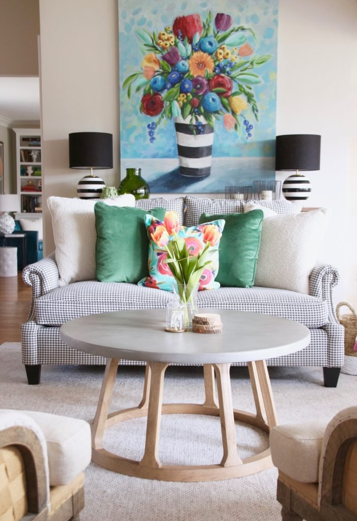 Colorful_jumpstart_Spring_kitchen_Meme_Hill_Studio_Amie_Freling_Raymour_flanigan_black_Houndstooth_Flowers_painting_White_kate_spade_coffee_table