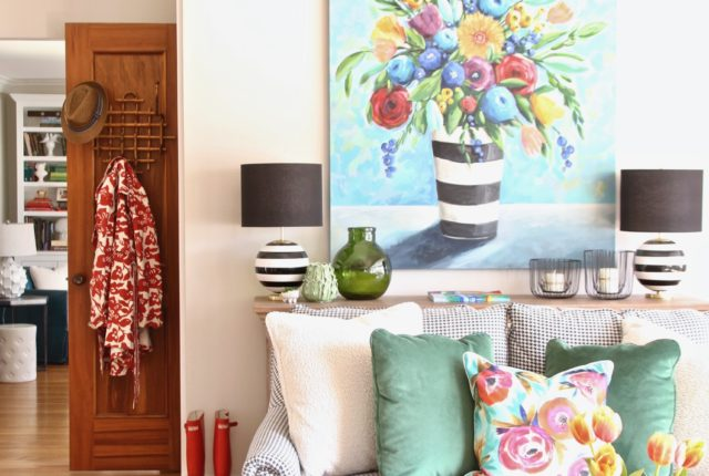 Colorful_jumpstart_Spring_kitchen_Meme_Hill_Studio_Amie_Freling_Raymour_flanigan_black_Houndstooth_Flowers_painting_White_kate_spade_hunter_boots
