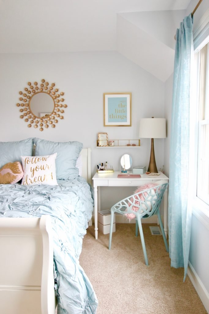 Designing_Teen_room_to_Last_white_furniture_makeover_bedroom_MemeHIll_studio_amie_freling_decorating_ideas_lighting_turquoise_pink_gold_desk