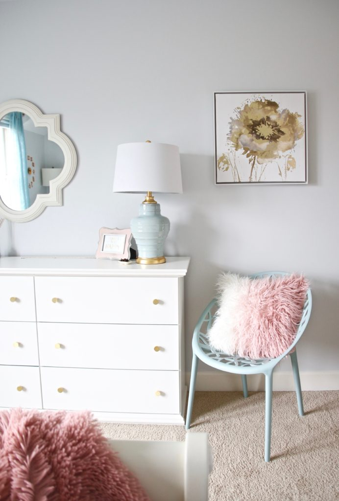 Designing_Teen_room_to_Last_white_furniture_makeover_bedroom_MemeHIll_studio_amie_freling_decorating_ideas_lighting_turquoise_pink_gold_fur_pillow