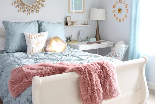 Designing_Teen_room_to_Last_white_furniture_makeover_bedroom_MemeHIll_studio_amie_freling_decorating_ideas_lighting_turquoise_pink_gold_gray_chic_homegoods
