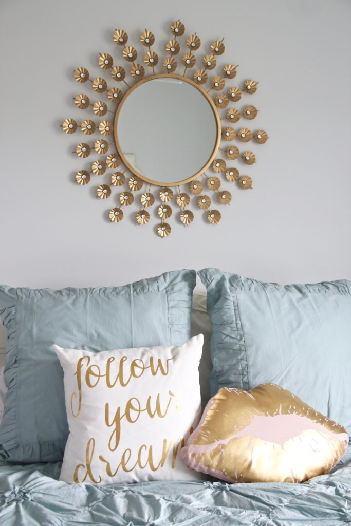 Designing_Teen_room_to_Last_white_furniture_makeover_bedroom_MemeHIll_studio_amie_freling_decorating_ideas_lighting_turquoise_pink_gold_sunburst_mirror