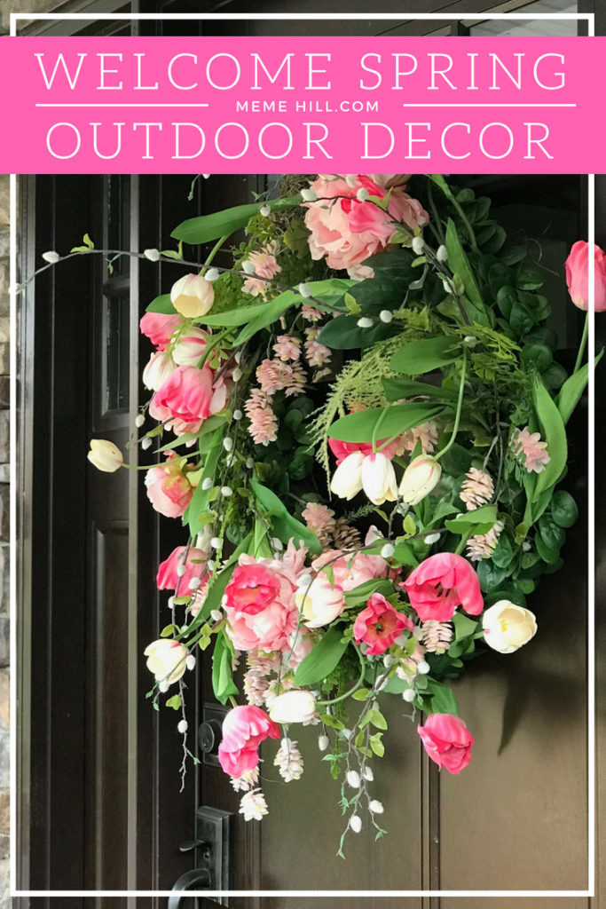 Welcome spring front door decor wreath tulip 2