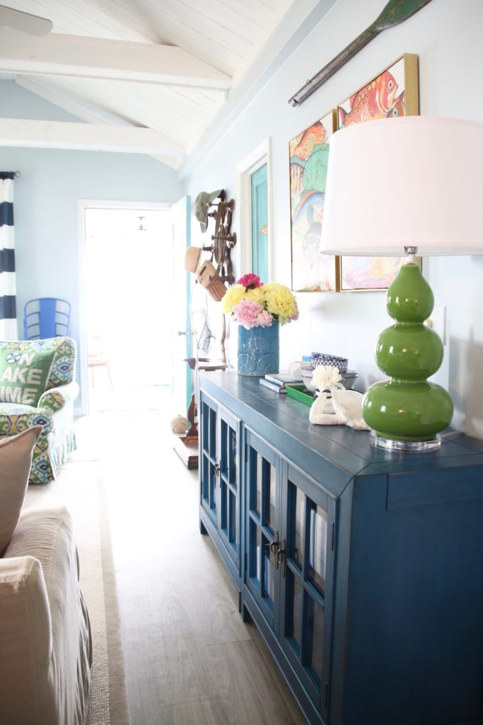 Meme_HIll_Studio_Amie_Freling_Summer_Lake_House_Blogger_Home_Tour_Cottage_Living_Coastal_decor_Aquitaine_accent_cabinet_Raymour_flanigan_TV