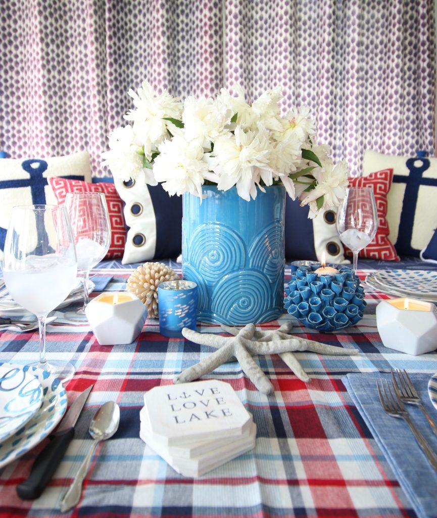 Meme_HIll_Studio_Amie_Freling_Summer_Lake_House_Blogger_Home_Tour_Cottage_Living_Coastal_decor_Rae_dunn_dinnerware_plates_melamine_homeGoods