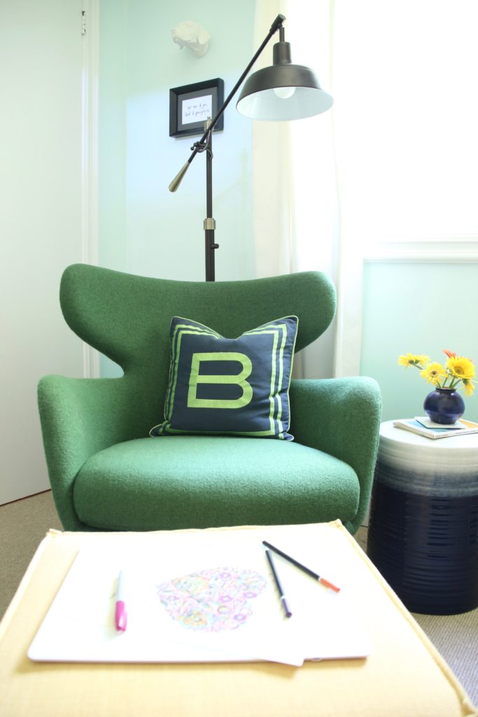 artist home office, office decorating ideas, ombre painted walls, white office furniture, green mid century modern chairs, Raymour and Flanigan , ombre garden stools, garden stools