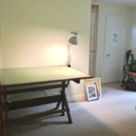 messy artist drafting table, before home office images, mismatched home office furniture , redecorating a home office,