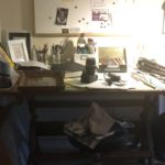 messy artist drafting table, before home office images
