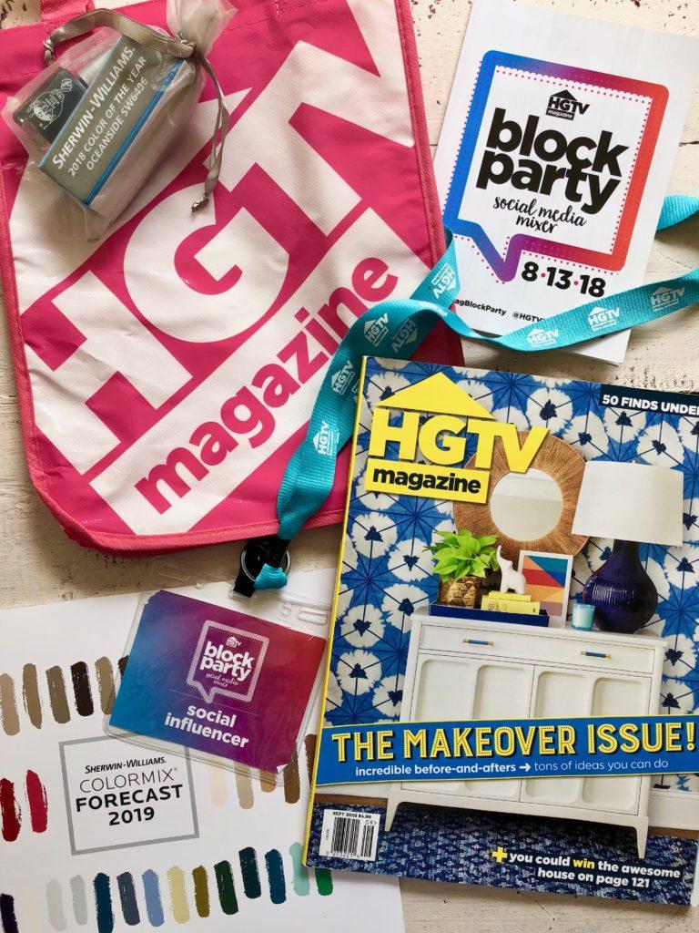 hgtv magazine swag bag, hgtv block party swag bag