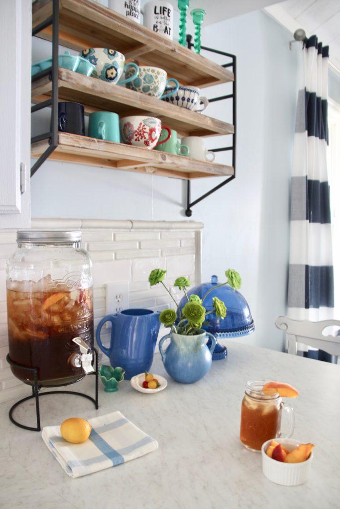 iced teas dispensers, HomeGoods dinnerware, open shelving ideas, wood and metal wall shelves