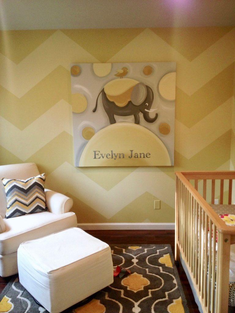 painting chevron stripes on walls, how to paint chevron stripes, baby nursery ideas