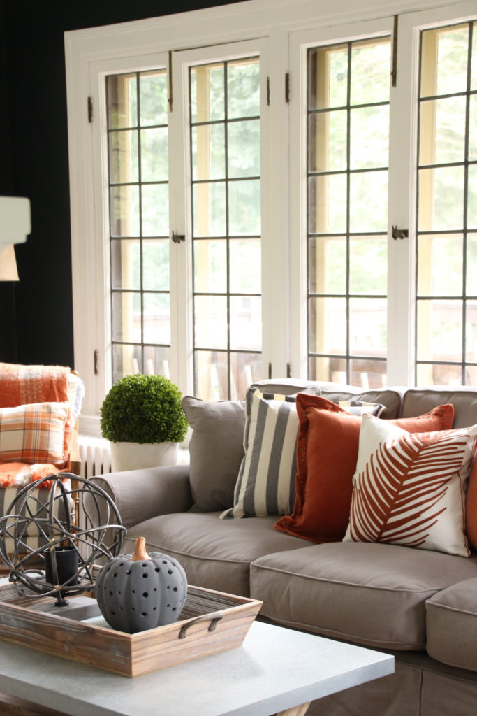 fall decorating ideas, fall accent pillows, velvet pillows, gray slipcovered sofas