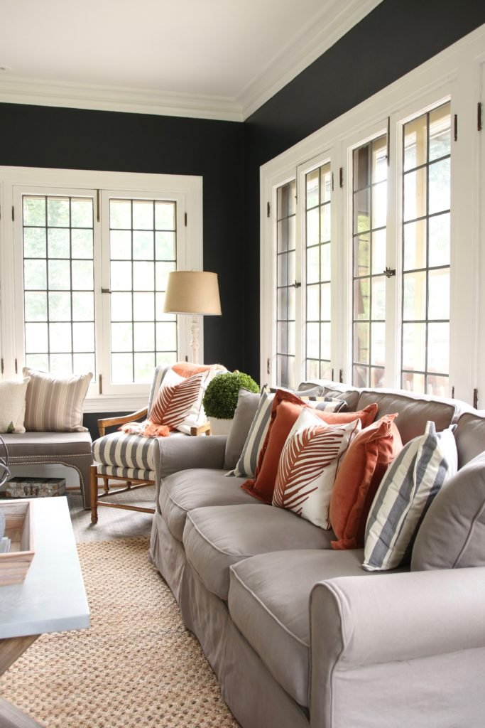 farmhouse style furniture, raymour Flanigan couches, pretty furniture for a busy family