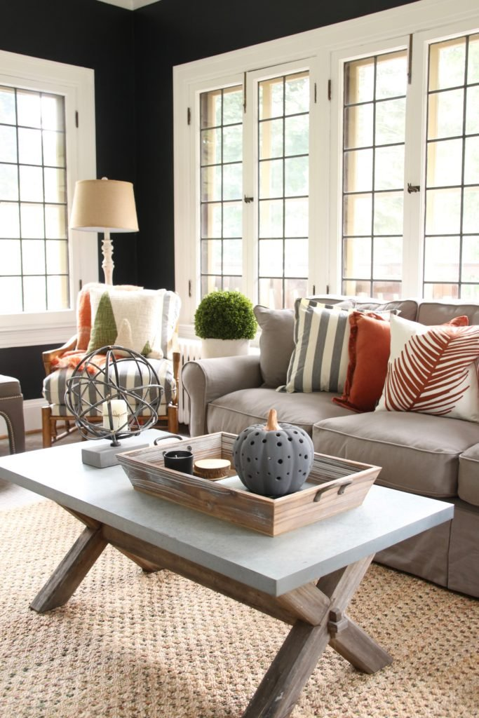 coffee table styling, fall home decorating ideas, pretty sofas, tasteful halloween decor