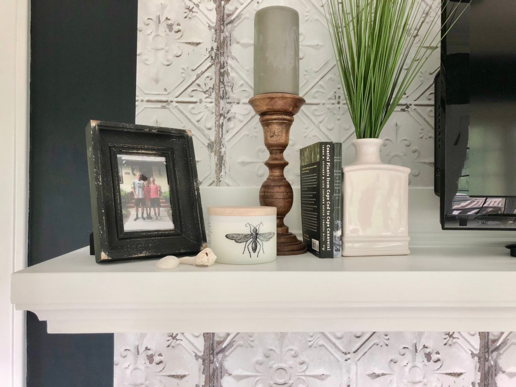 farmhouse fireplaces, styling a fireplace mantel , tin tile wallpaper