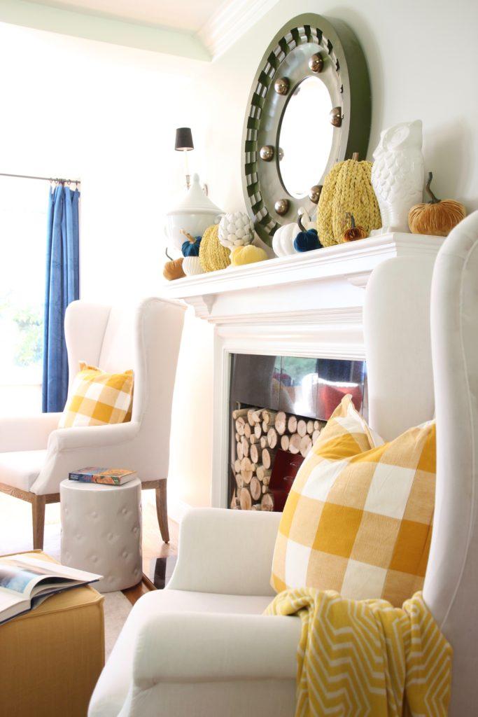 yellow buffalo check pillows, plaid yellow pillows, decorating with yellow