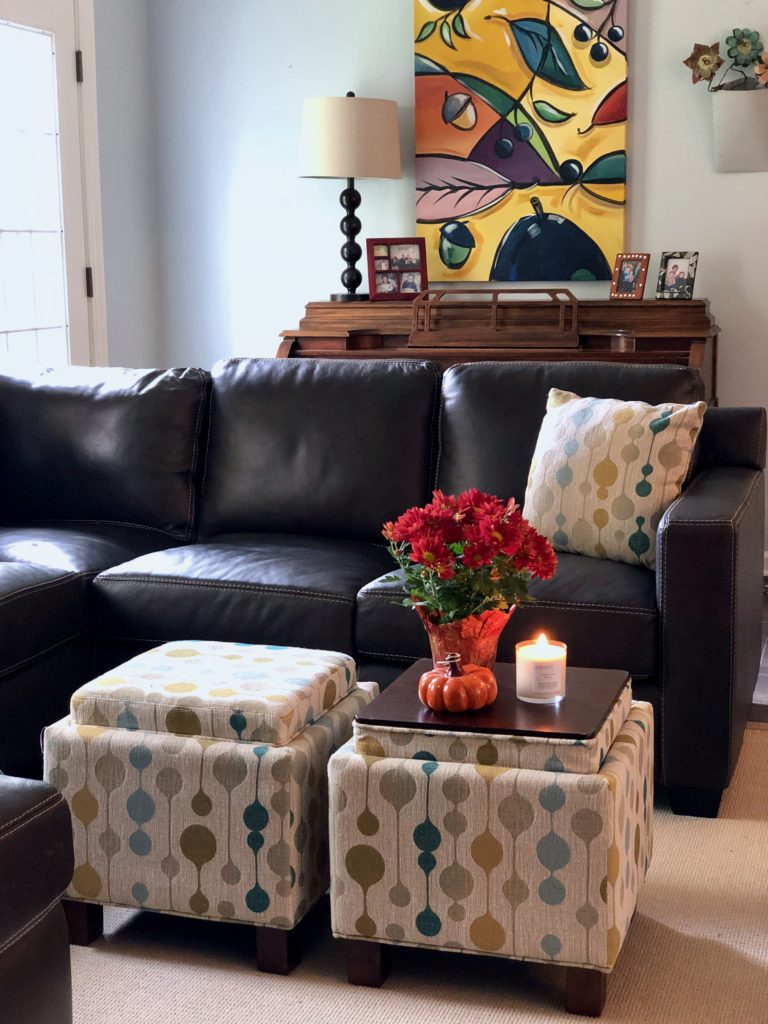 leather sectional from Raymour Flanigan , comfortable brown sofas