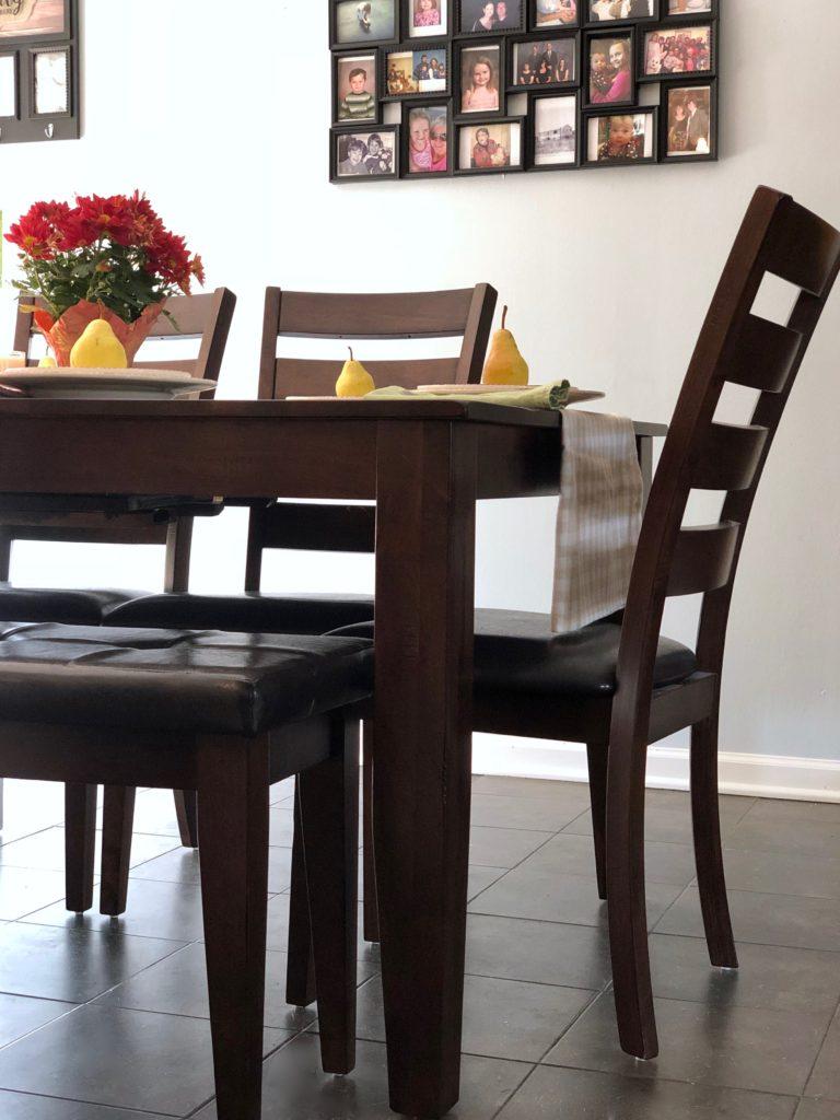 kona dining set, dark wood and leather dining sets