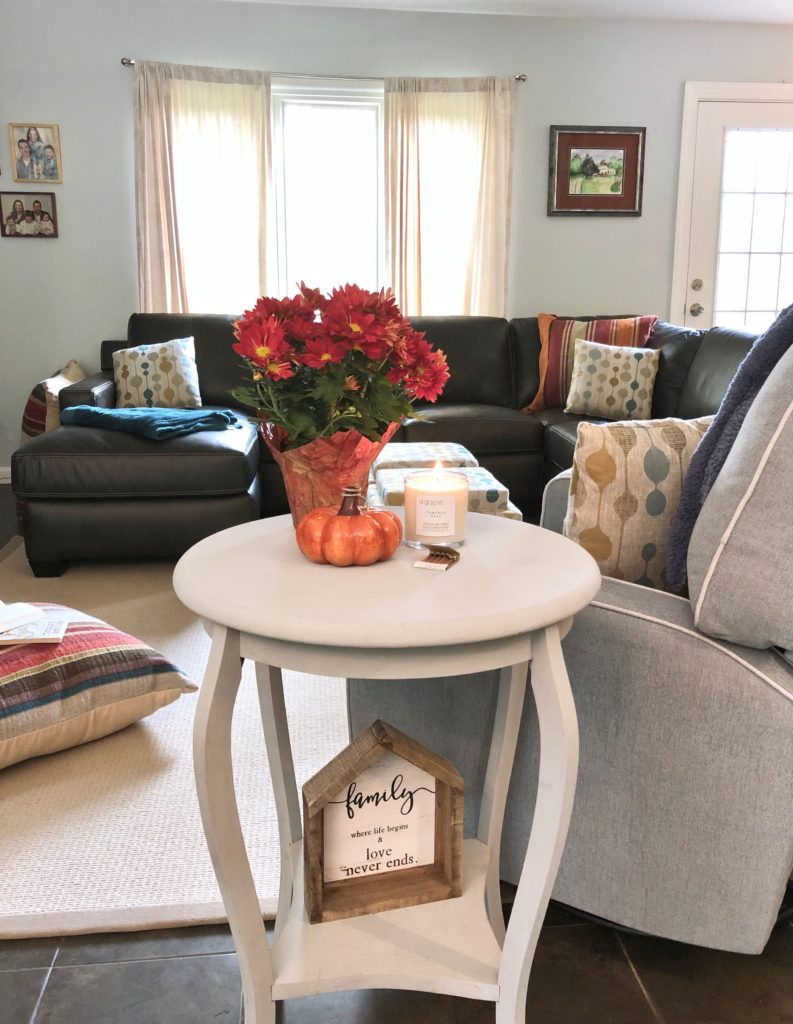 chalk paint gray table, leather sectional comfortable