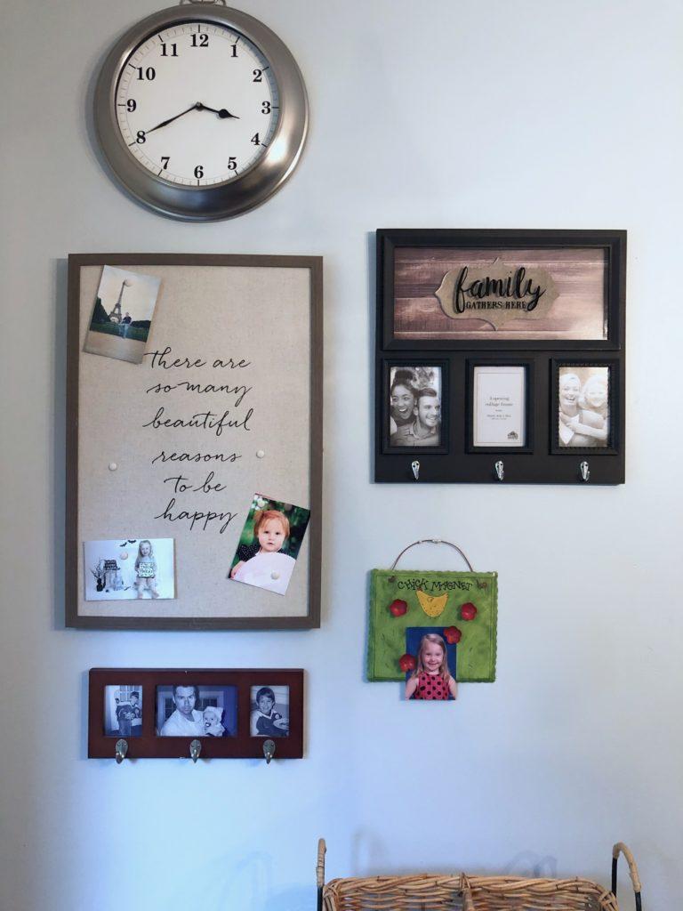 farmhouse style gallery wall, message center ideas, cute key hooks