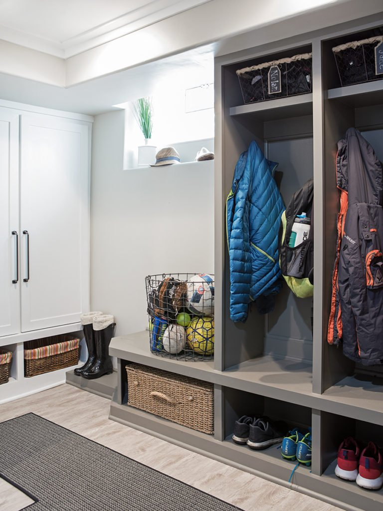 farmhouse style basement remodeling ideas, cubbies ideas, gray painted lockers