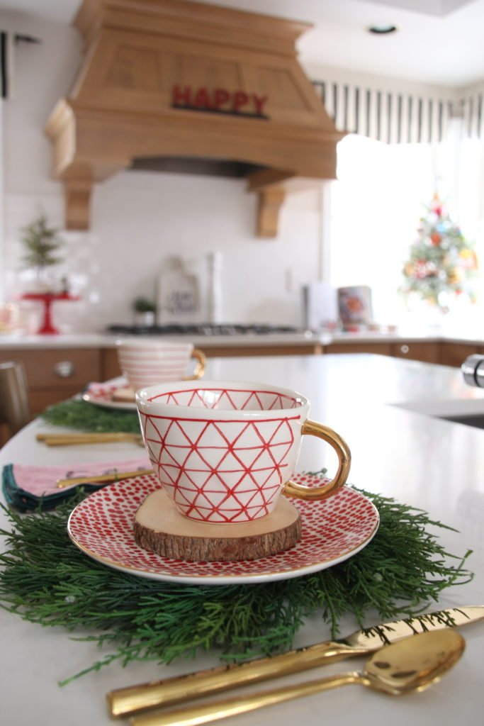 cute chrismtas teacups, christmas tableware, red and white pottery