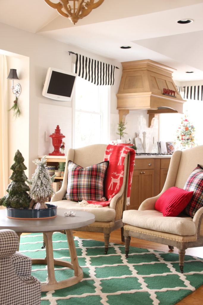 plaid christmas pillows, coffee table christmas decor