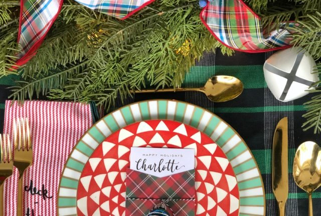 plaid tablecloth, Christmas dinner table