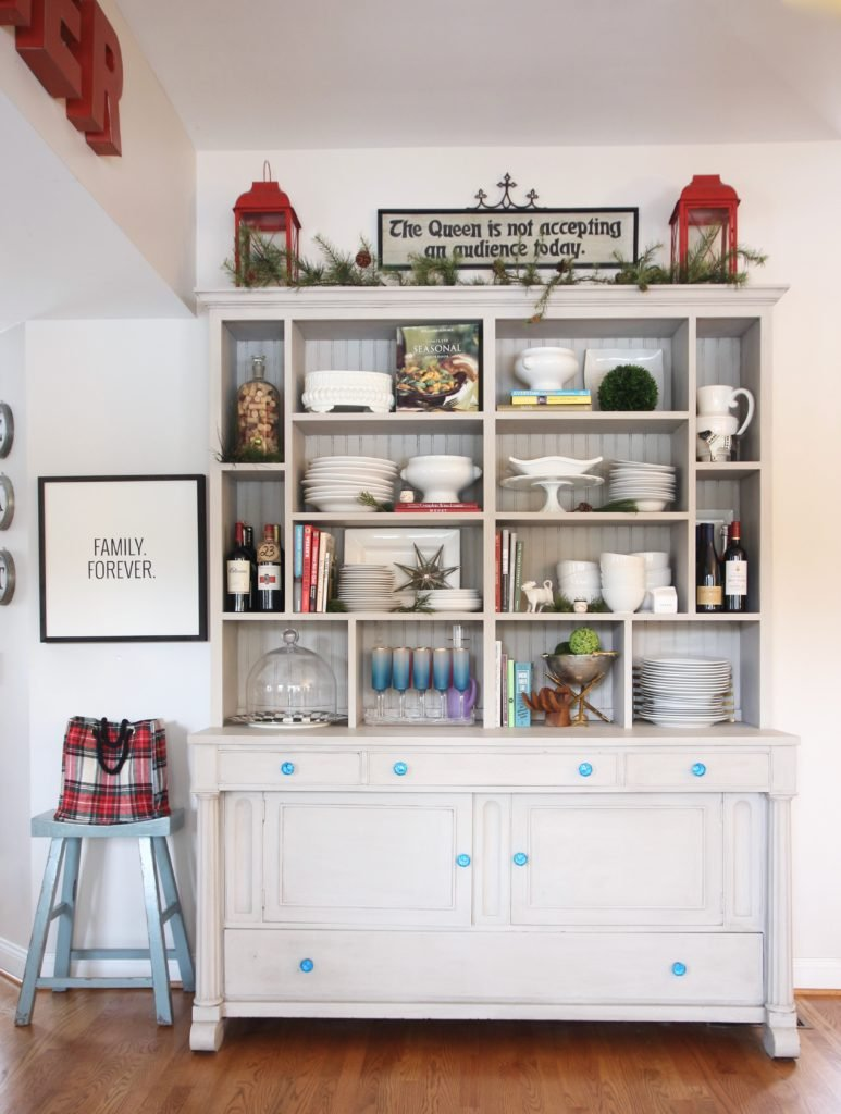 white christmas pottery, gray sideboards