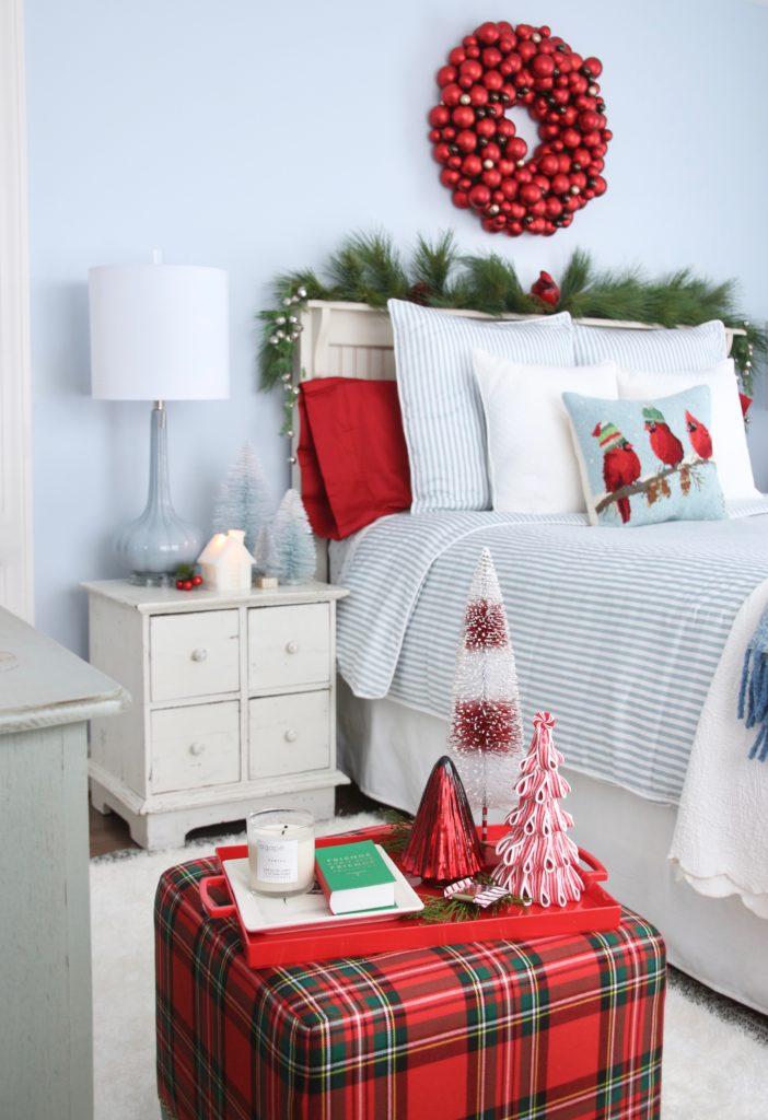 , luxury gift baskets, christmas decorating ideas, bedroom decor, plaid ottoman, tartan plaid furniture , cardinal pillows