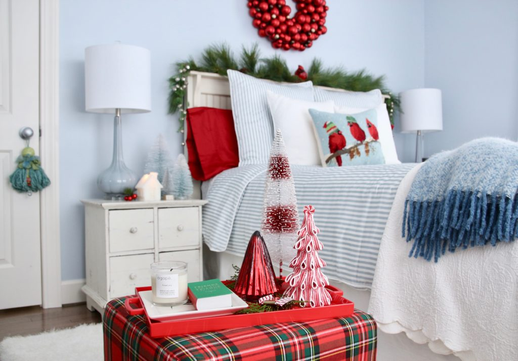 , luxury gift baskets, christmas decorating ideas, bedroom decor, plaid ottoman, mercury glass christmas trees, bottle brush trees, holiday candles