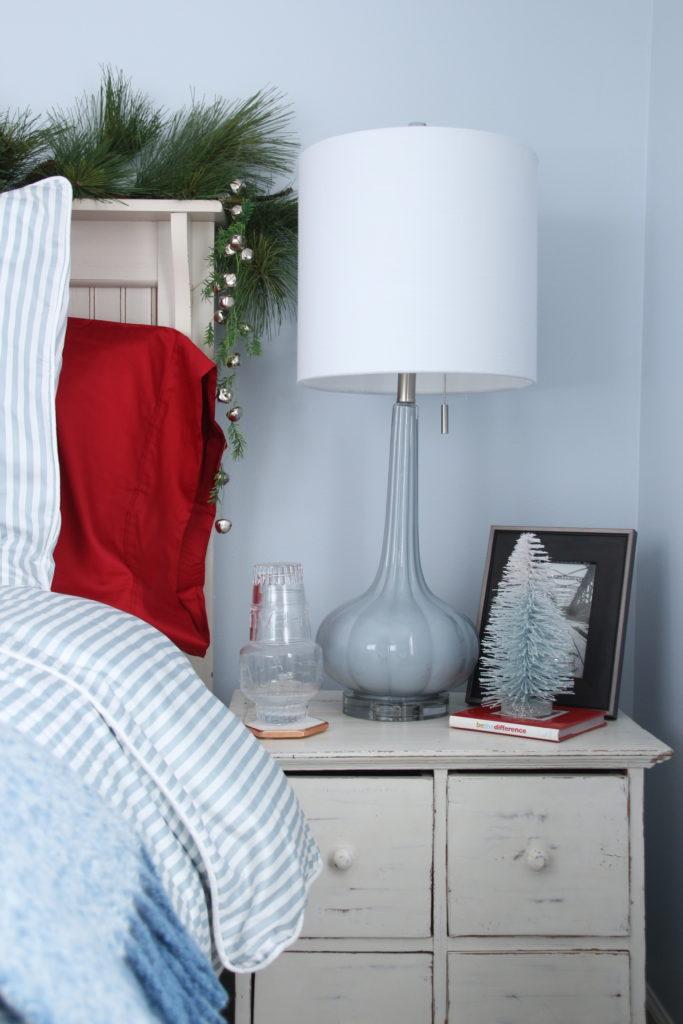 , luxury gift baskets, christmas decorating ideas, bedroom decor, plaid ottoman, mercury glass christmas trees, bottle brush trees, pretty blue lamps