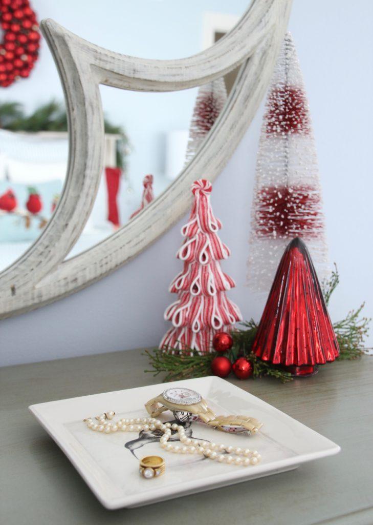 , luxury gift baskets, christmas decorating ideas, bedroom decor, plaid ottoman, mercury glass christmas trees, bottle brush trees