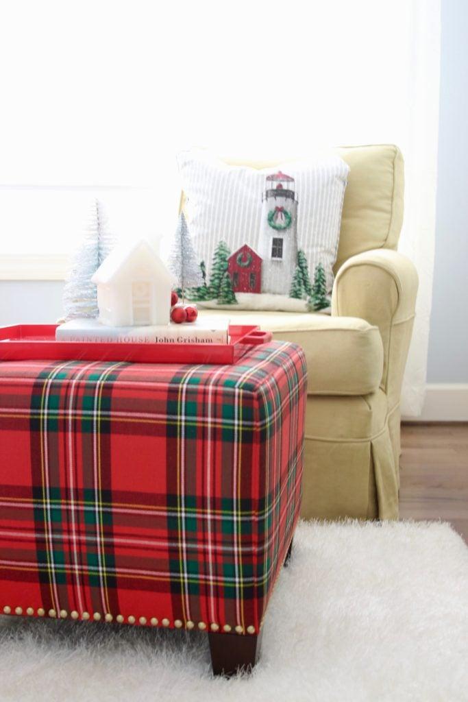 , luxury gift baskets, christmas decorating ideas, bedroom decor, plaid ottoman, tartan plaid furniture
