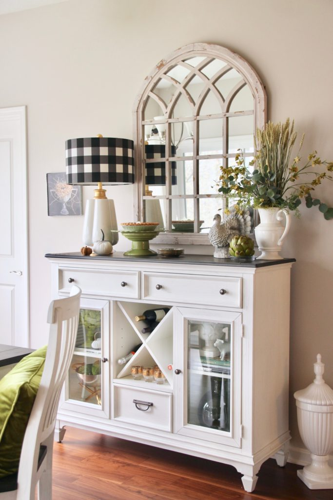 pretty white and black dining rooms, farmhouse style dining sideboard