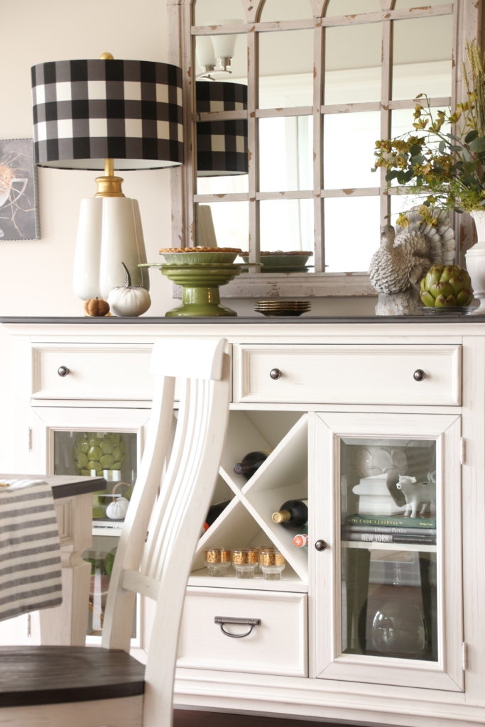 shelby sideboard dining set, black and white Thanksgiving