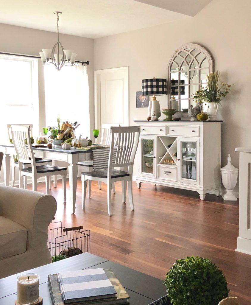 white farmhouse table and chair