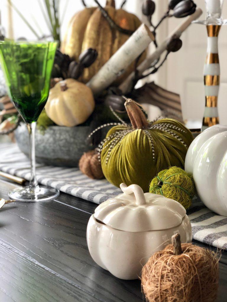 ceramic pumpkins, Thanksgiving table decor