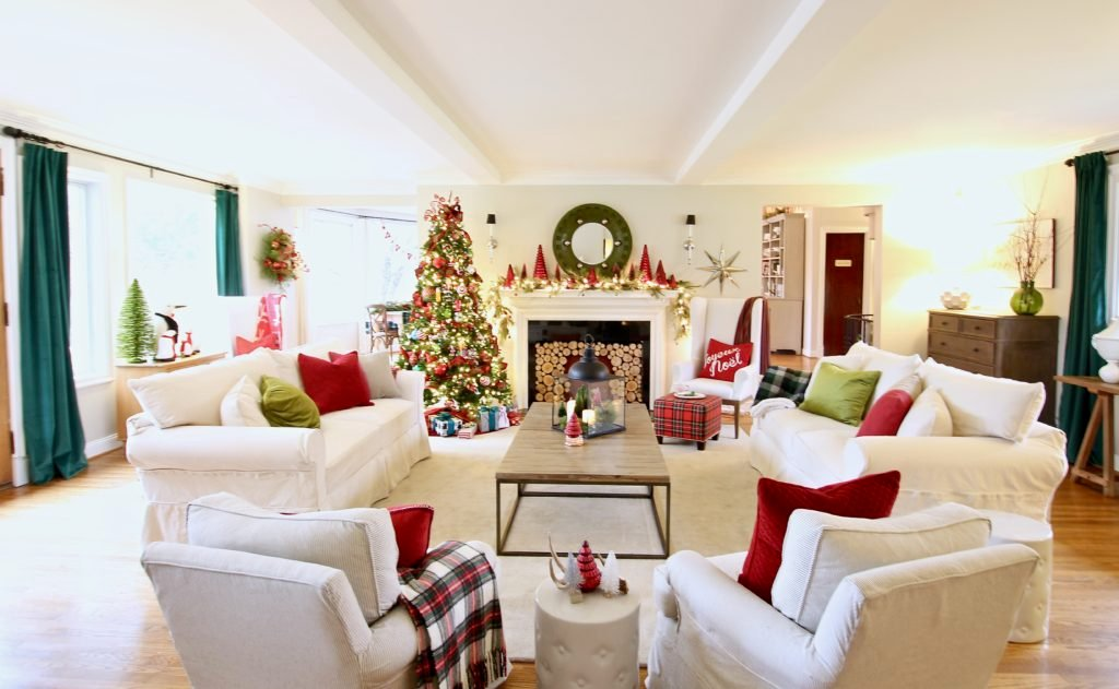 pretty living rooms, christmas decorating ideas