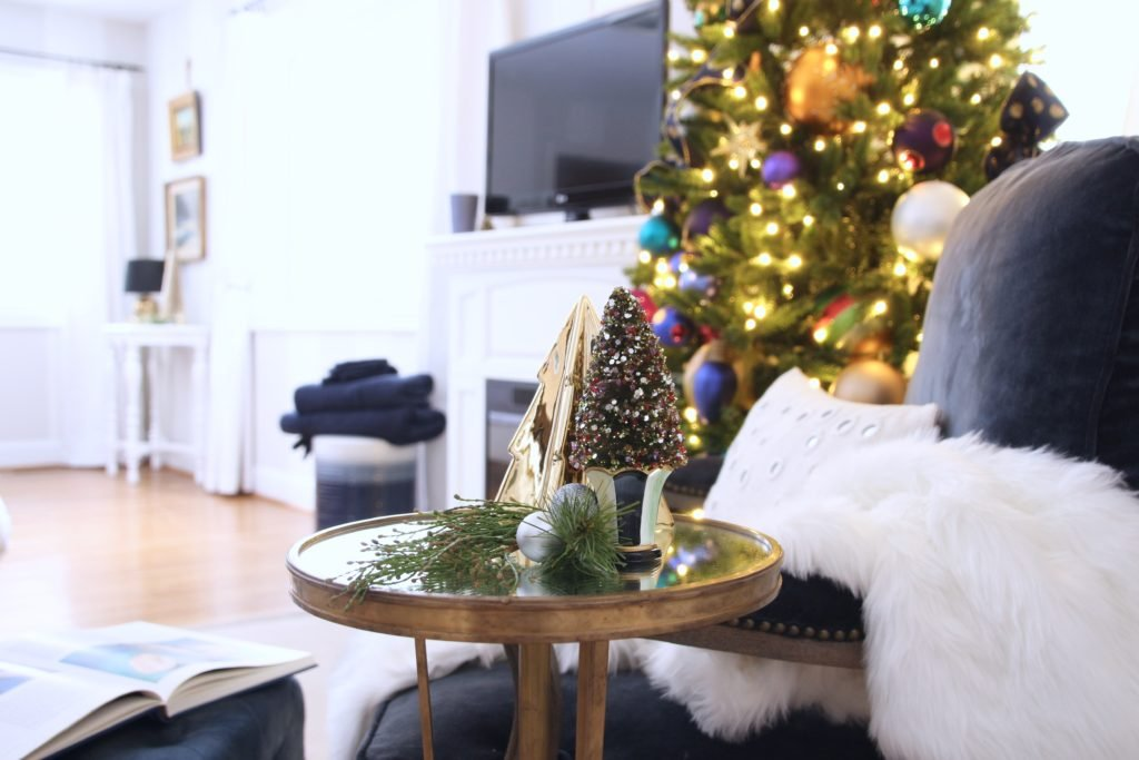 decorating your master bedroom, using navy in decor, gorgeous bedrooms, bedroom christmas trees, mackenzie childs bottle brush trees