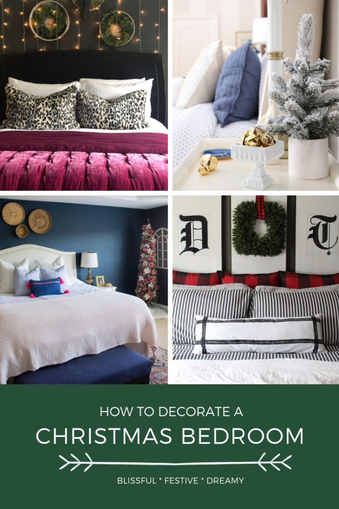 bedrooms decorated for christmas, pretty bedrooms, holiday decorating ideas
