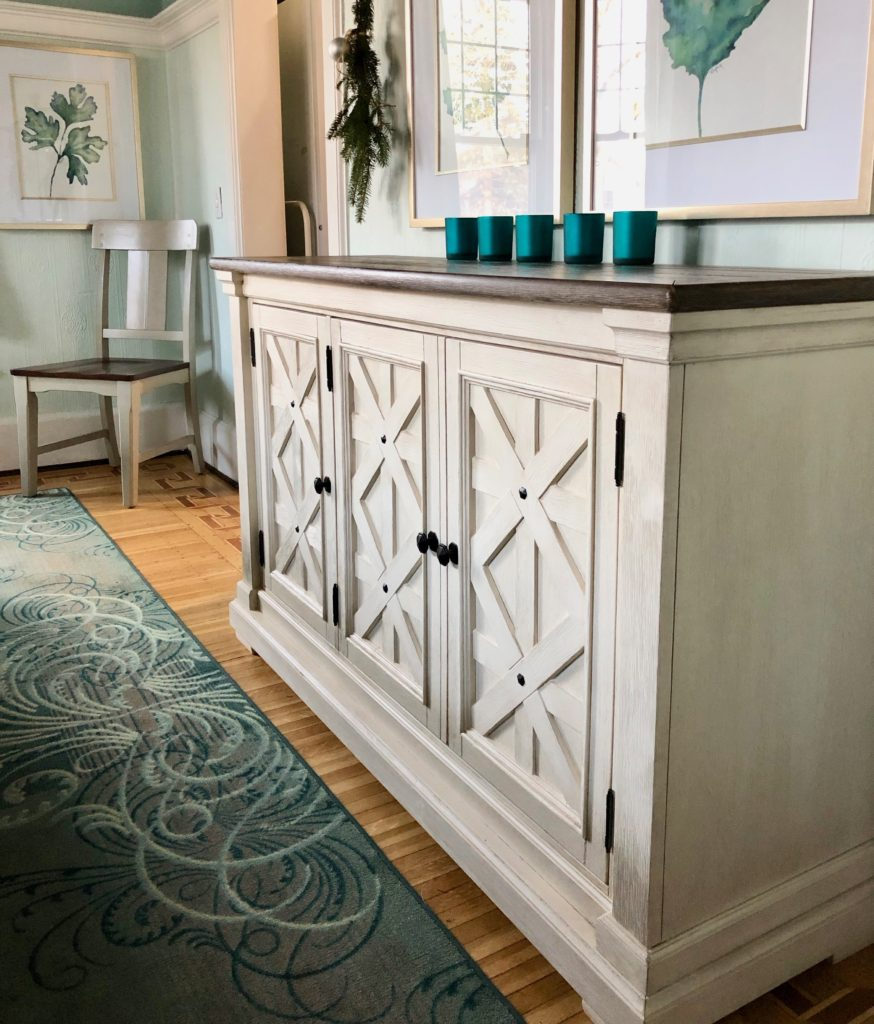 turquoise table runner, christs centerpieces using ornaments, aspen buffet server