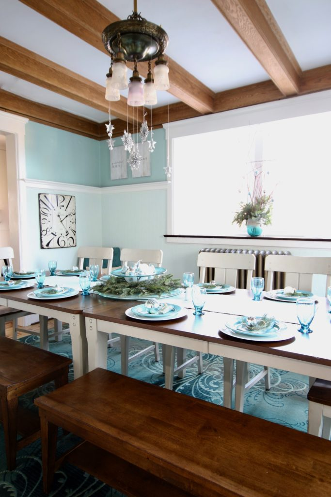 raymour and flanigan Holden dining set, gray painted dining table, white painted narrow bookcase, wood benches, big dining tables