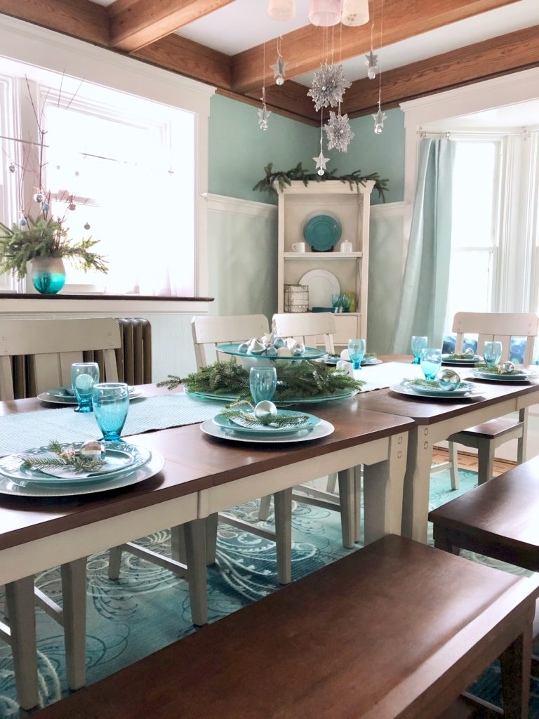 raymour and flanigan Holden dining set, gray painted dining table, white painted narrow bookcase, Christmas dinner table