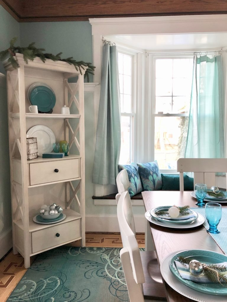 raymour and flanigan Holden dining set, gray painted dining table, white painted narrow bookcase, aspen bookcase