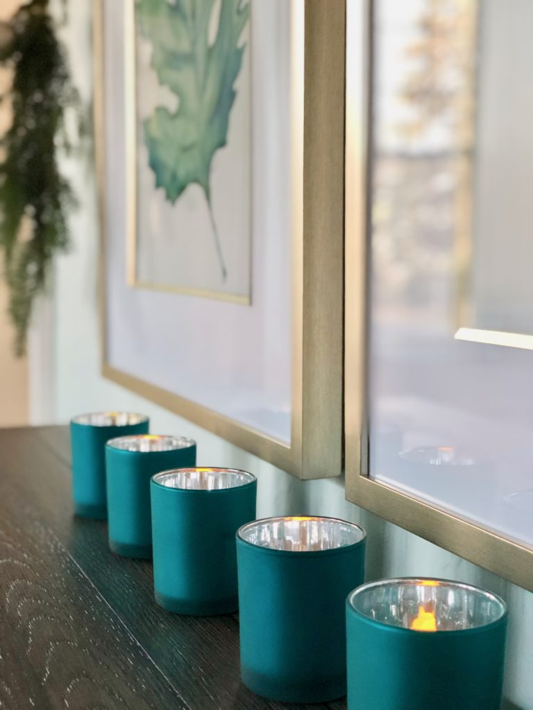 turquoise votive candle holders